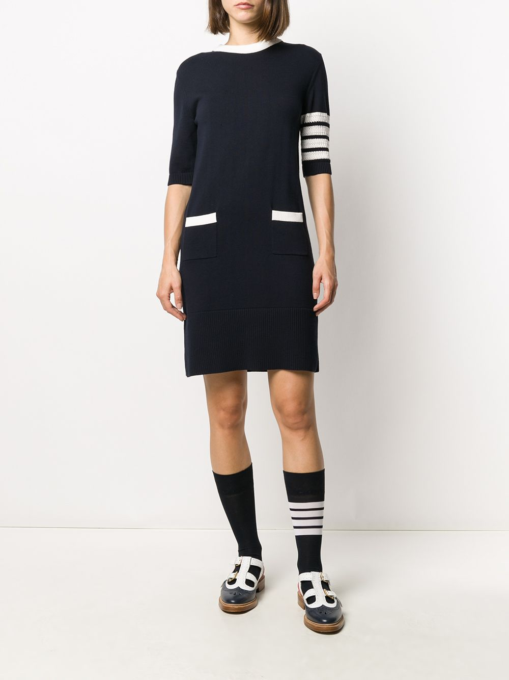 THOM BROWNE WOMEN HECTOR ICON WITH DIAGONAL RWB INTARSIA SS MINI DRESS W/ 4 BAR STRIPE