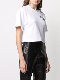OFF-WHITE WOMEN LOGO PATCH CROPPED TEE