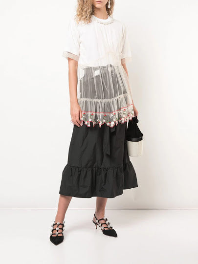 SIMONE ROCHA WOMEN T-SHIRT WITH TULLE LAYERS AND LACE TRIM