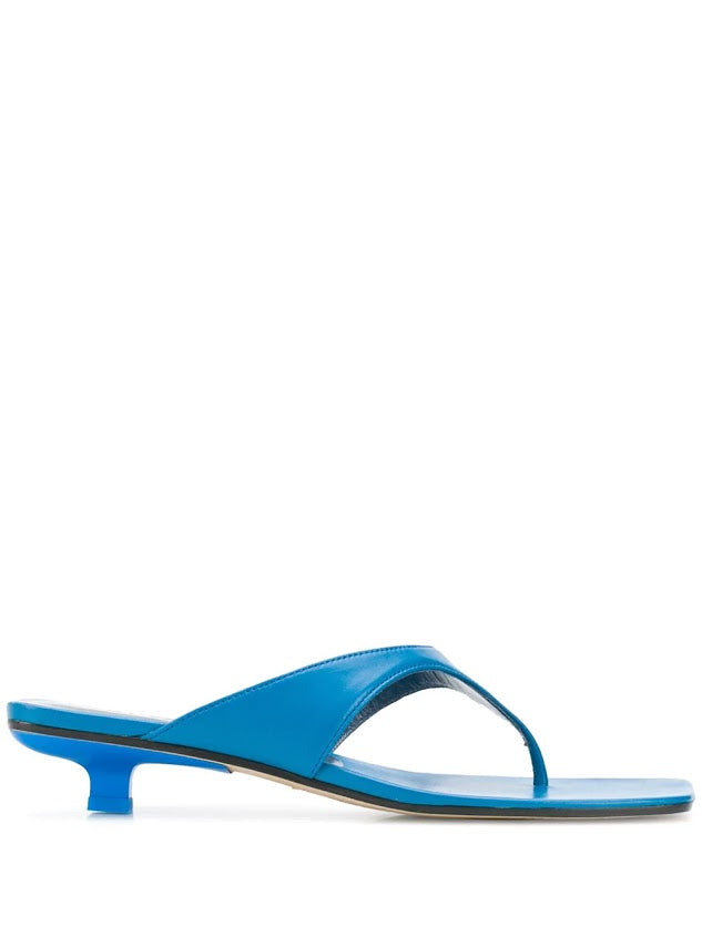 BY FAR WOMEN JACK BLUE LEATHER SANDALS