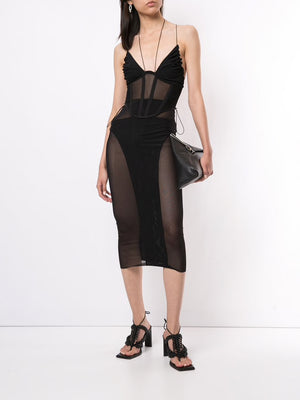 DION LEE WOMEN POWERTULLE CORSET TOP
