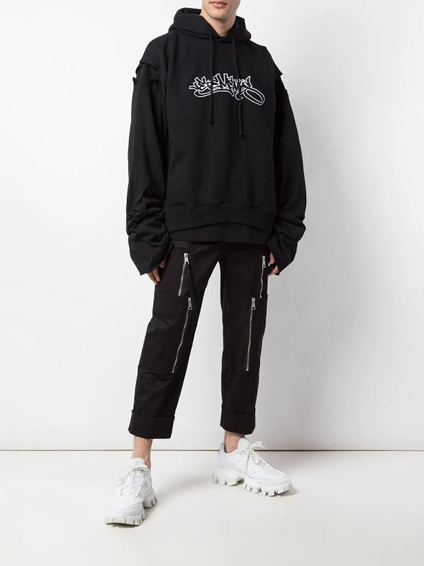 VETEMENTS MENS PATCHED LONG SLEEVE HOODIE HIPHOP