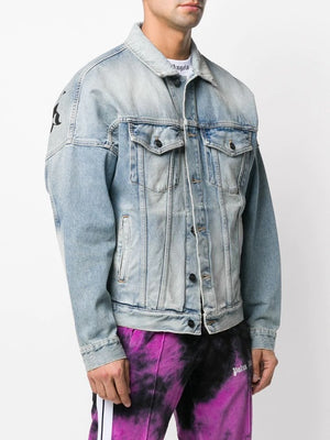 PALM ANGELS MEN OVER LOGO DENIM CABAN