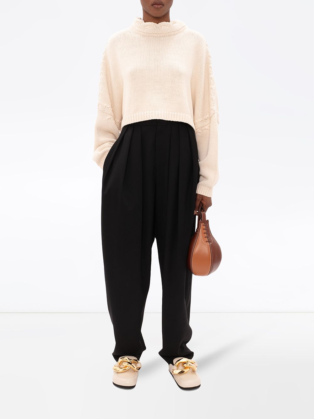 JW ANDERSON WOMEN CROPPED JUMPER WITH FABRIC TIES