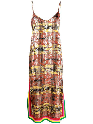 PALM ANGELS WOMEN EXODUS CHECK SLIP DRESS