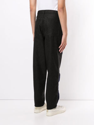 COMME DES GARCONS SHIRT MEN WOOL PANTS WITH BUCKLE DETAILS