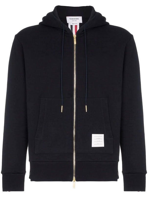 THOM BROWNE MEN HOODIE ZIP-UP PULLOVER IN CLASSIC LOOPBACK WITH CB RWB STRIPE