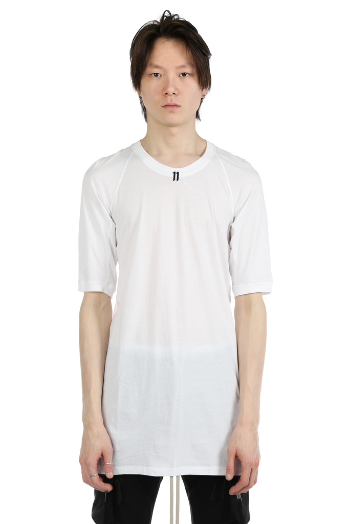 11 BY BORIS BIDJAN SABERI MEN LOGO AND TYPE T-SHIRT WITH CONTRASTED LABEL