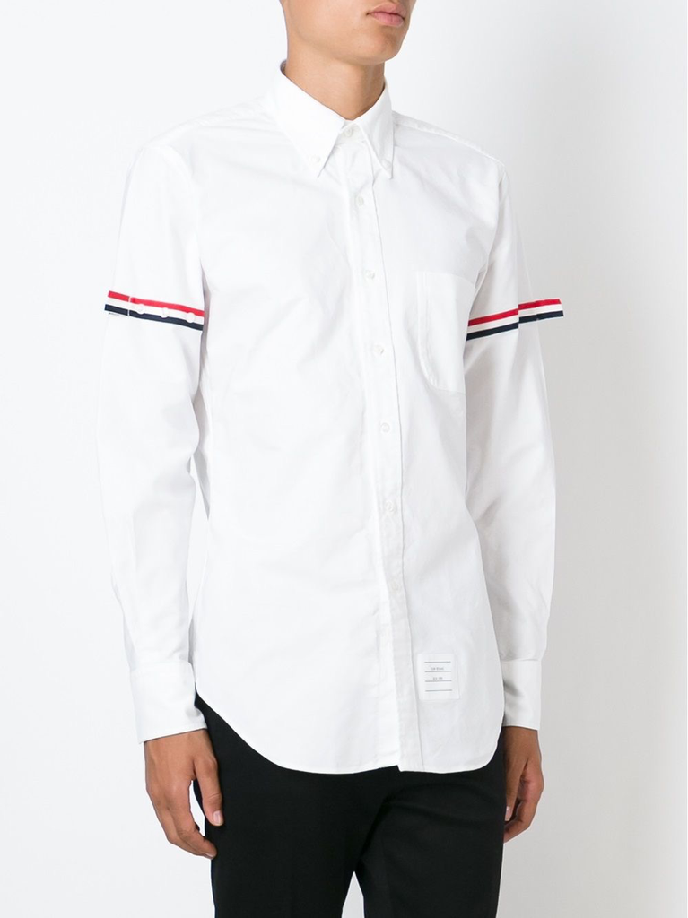 THOM BROWNE MEN CLASSIC LONG SLEEVE BUTTON DOWN POINT COLLAR SHIRT WITH GG ARMBAND IN OXFORD