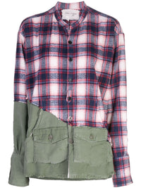 GREG LAUREN WOMEN 50/50 RED PLAID ARMY STUDIO SHIRT