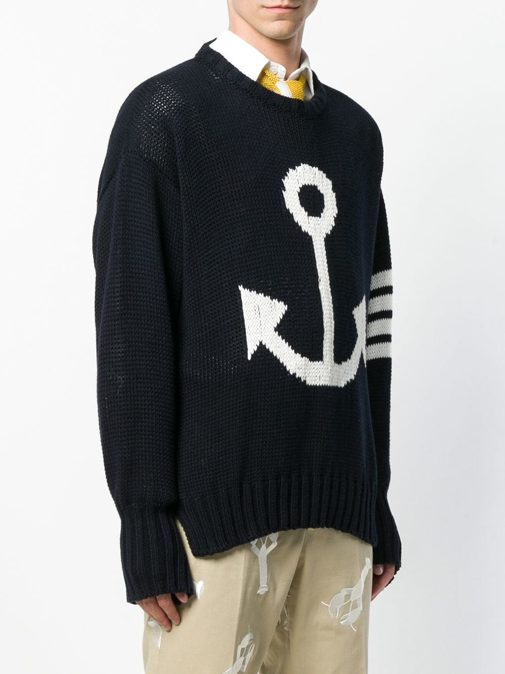THOM BROWNE MEN ANCHOR ICON INTARSIA OVERSIZED CREW NECK 11 PULLOVER IN COTTON