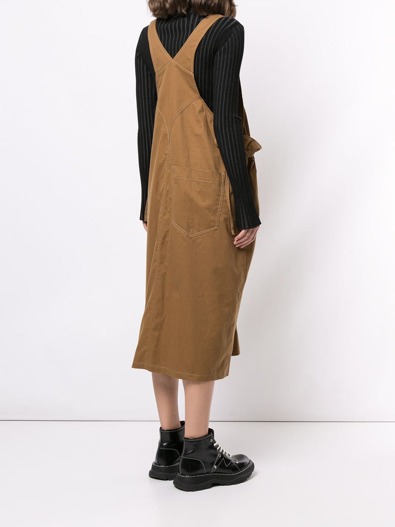 Y'S WOMEN SIDE STRING SALOPETTE OVERALL SUSPENDER DRESS