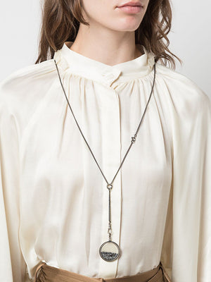 ANN DEMEULEMEESTER WOMEN SWARROVSKI CRYSTAL MEDALLION NECKLACE