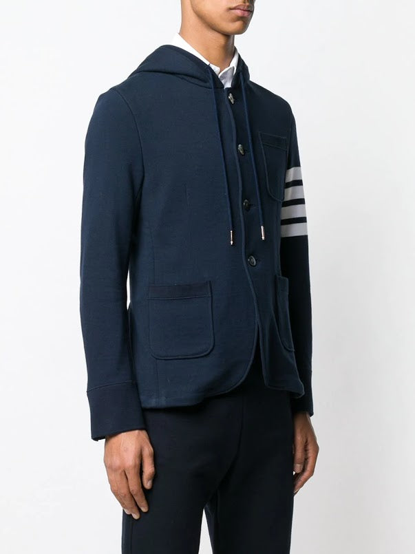 THOM BROWNE MEN HOODED SPORT COAT IN CLASSIC LOOP BACK WITH ENGINEERED 4 BAR