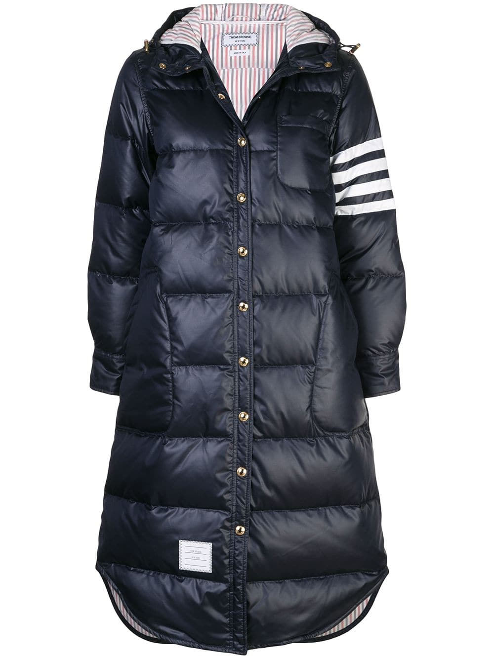 THOM BROWNE WOMEN 4 BAR DOWN FILLED HOODED BELOW KNEE SHIRTDRESS IN MINI RIPSTOP
