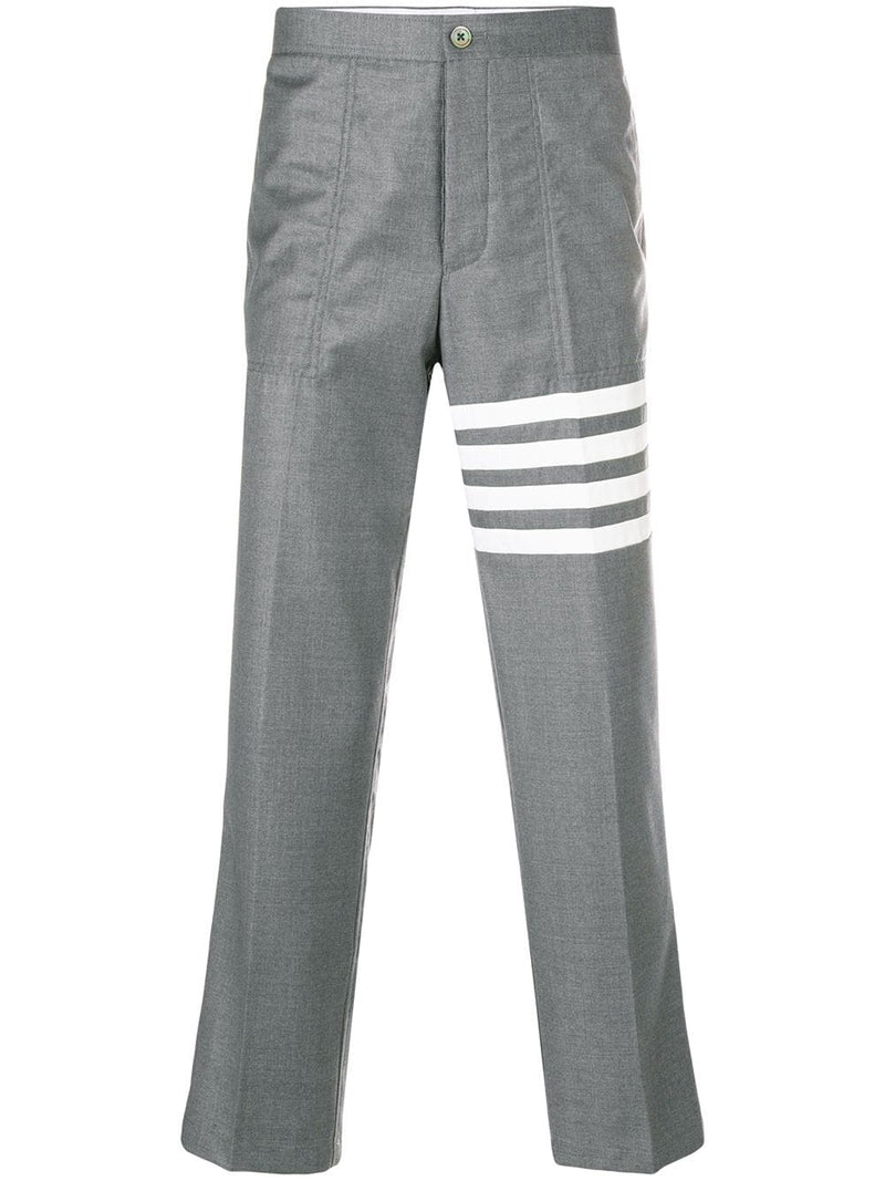 THOM BROWNE MEN UNCONSTRUCTED SLANT POCKET CHINO W/ SEAMED IN 4 BAR IN SCHOOL UNIFORM PLAIN WEAVE