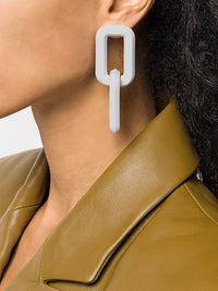 OFF-WHITE ACETATE GOLD EARRINGS