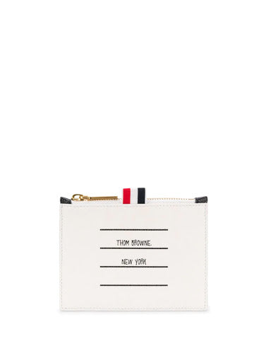 THOM BROWNE SMALL COIN PURSE IN TBNY PAPER LABEL PRINTED PEBBLE GRAIN