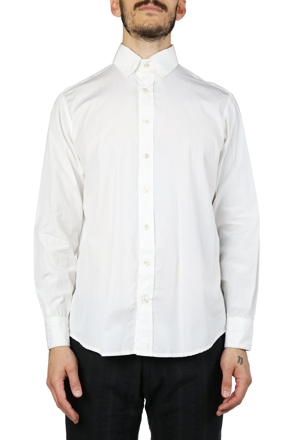 GEOFFREY B SMALL MEN HANDMADE 3 REMOVABLE COLLAR ORGANIC L.PARISOTTO COTTON SHIRT WITH HANDMADE BUTTONHOLES AND BUTTONS