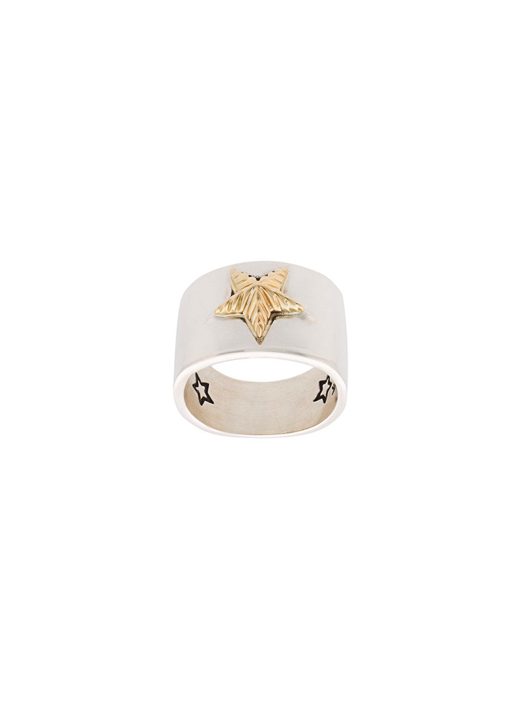 CODY SANDERSON PLAIN STAR WITH 18K GOLD RIBBED STAR RING