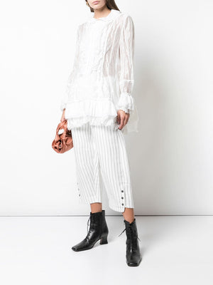RENLI SU WOMEN STRIPED TROUSERS WITH BUTTON OPENING