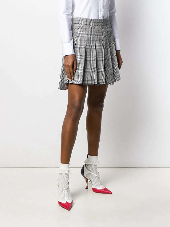 THOM BROWNE WOMEN DROPPED BACK MINI PLEATED SKIRT IN POW CRISP LINEN SUITING