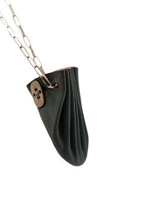 MA+ CALF LEATHER MINI SHELL POUCH NECKLACE