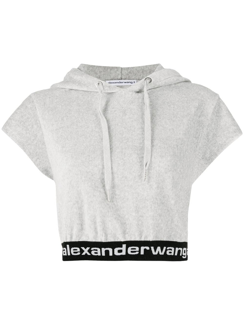 T BY ALEXANDER WANG WOMEN STRETCH CORDUROY CAP SLEEVE HOODIE