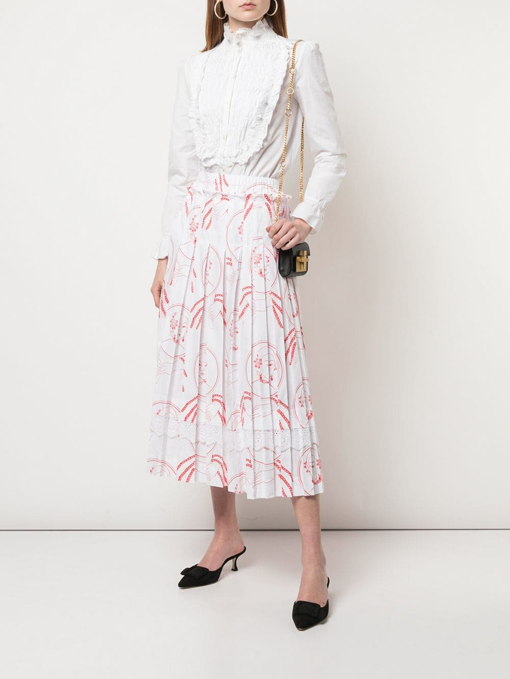 SIMONE ROCHA WOMEN PLEATED SKIRT WITH BROIDERIE ANGLAISE TRIM