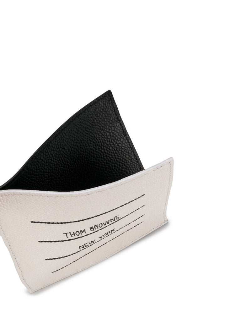 THOM BROWNE SQUARE SINGLE CARD HOLDER WITH NOTE COMPARTMENT IN TBNY PAPER LABEL