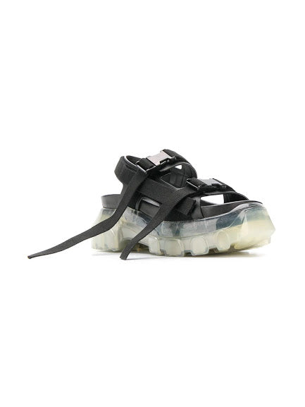RICK OWENS WOMEN TRACTOR SANDALS WITH CLEAR SOLE