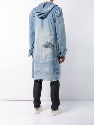 GREG LAUREN MEN VINTAGE DENIM TOOGLE COAT M003 FWBI