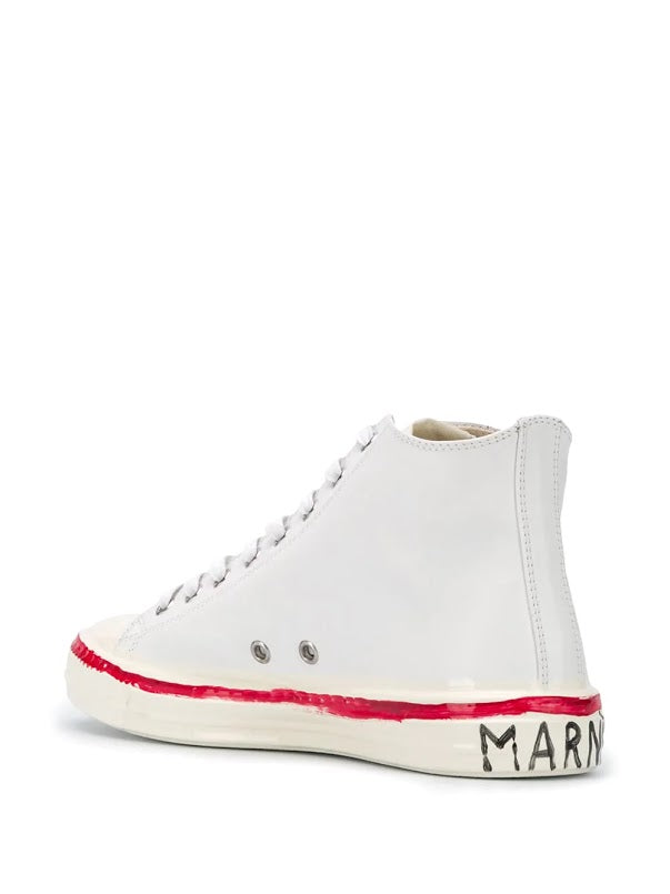 MARNI WOMEN GRAFFITI HIGH TOP SNEAKER WITH PARTIAL RUBBER COATING