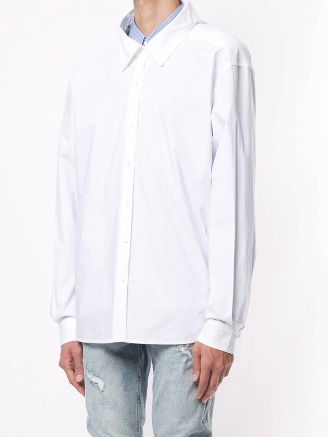 WE11DONE UNISEX WHITE LOGO SLEEVE SHIRT WITH ZIPPER DETAIL