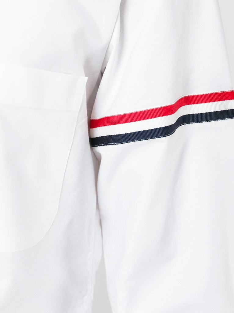 THOM BROWNE MEN CLASSIC LONG SLEEVE BUTTON DOWN POINT COLLAR SHIRT W/ GG ARMBAND IN OXFORD
