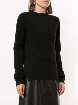 RICK OWENS WOMEN RECYCLED CASHMERE ROUND NECK SWEATER