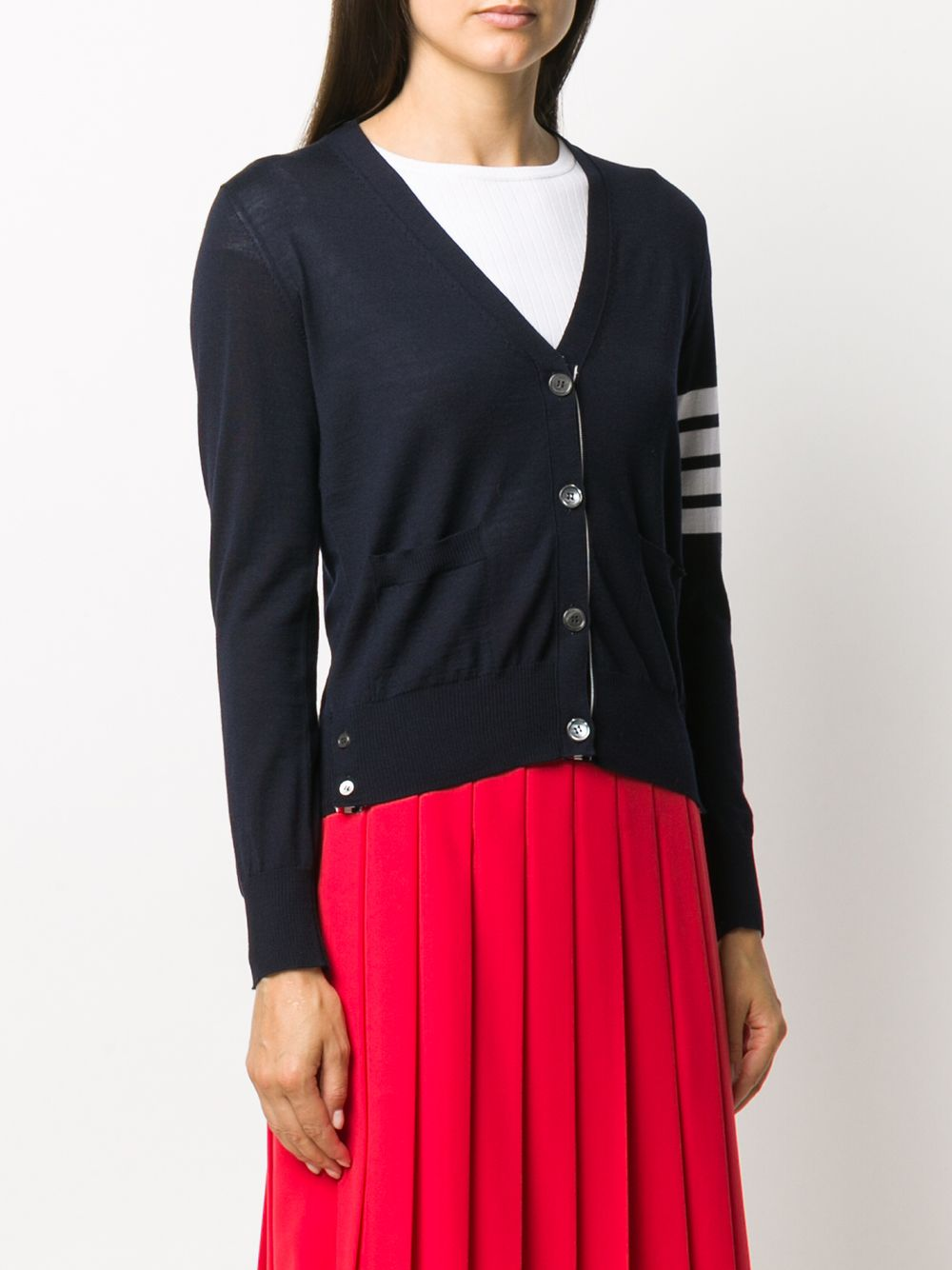 THOM BROWNE WOMEN RELAXED FIT V NECK CARDIGAN W/ 4 BAR IN FINE MERINO WOOL