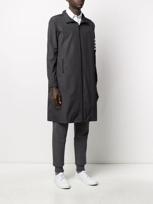 THOM BROWNE MEN HIDDEN HOODIE ZIP UP PARKA IN FLYWEIGHT TECH