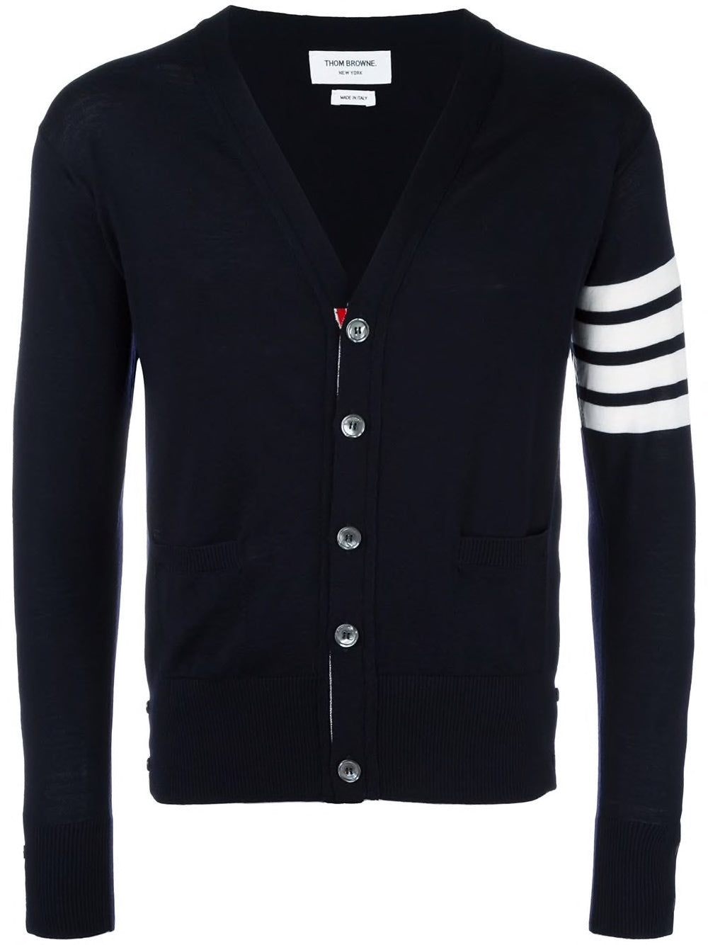THOM BROWNE MEN CLASSIC V-NECK CARDIGAN IN FINE MERINO
