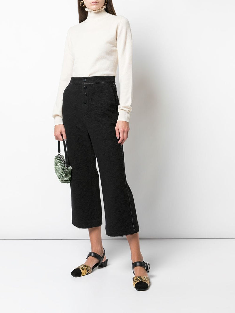 RENLI SU WOMEN STRAIGHT WAFFLE TEXTURE TROUSERS WITH STITCH LINES