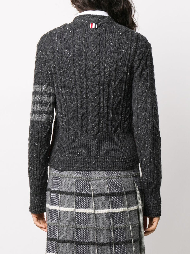 THOM BROWNE WOMEN ARAN CABLE CLASSIC V-NECK CARDIGAN W/ 4 BAR IN MOHAIR TWEED