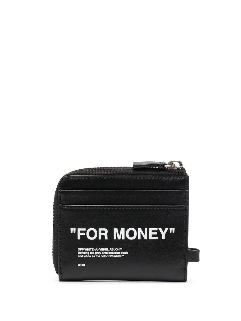 OFF-WHITE CALF SKIN QUOTE CHAIN WALLET