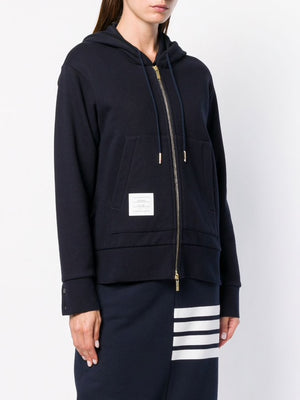 THOM BROWNE WOMEN ZIP UP HOODIE IN CLASSIC LOOPBACK WITH CB RWB STRIPE