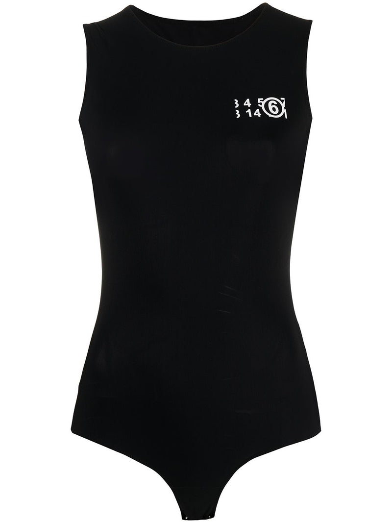 MM6 WOMEN LOGO PRINTED TANK BODYSUIT