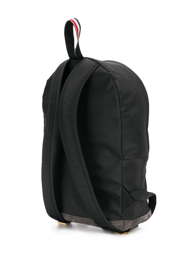 THOM BROWNE MEN UNSTRUCTURED BACKPACK IN NYLON PLAIN WEAVE + SUEDE