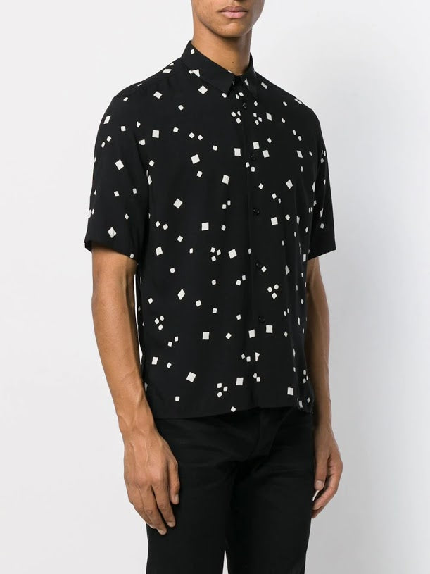 SAINT LAURENT MEN PRINTED SHORT SLEEVE SHIRT