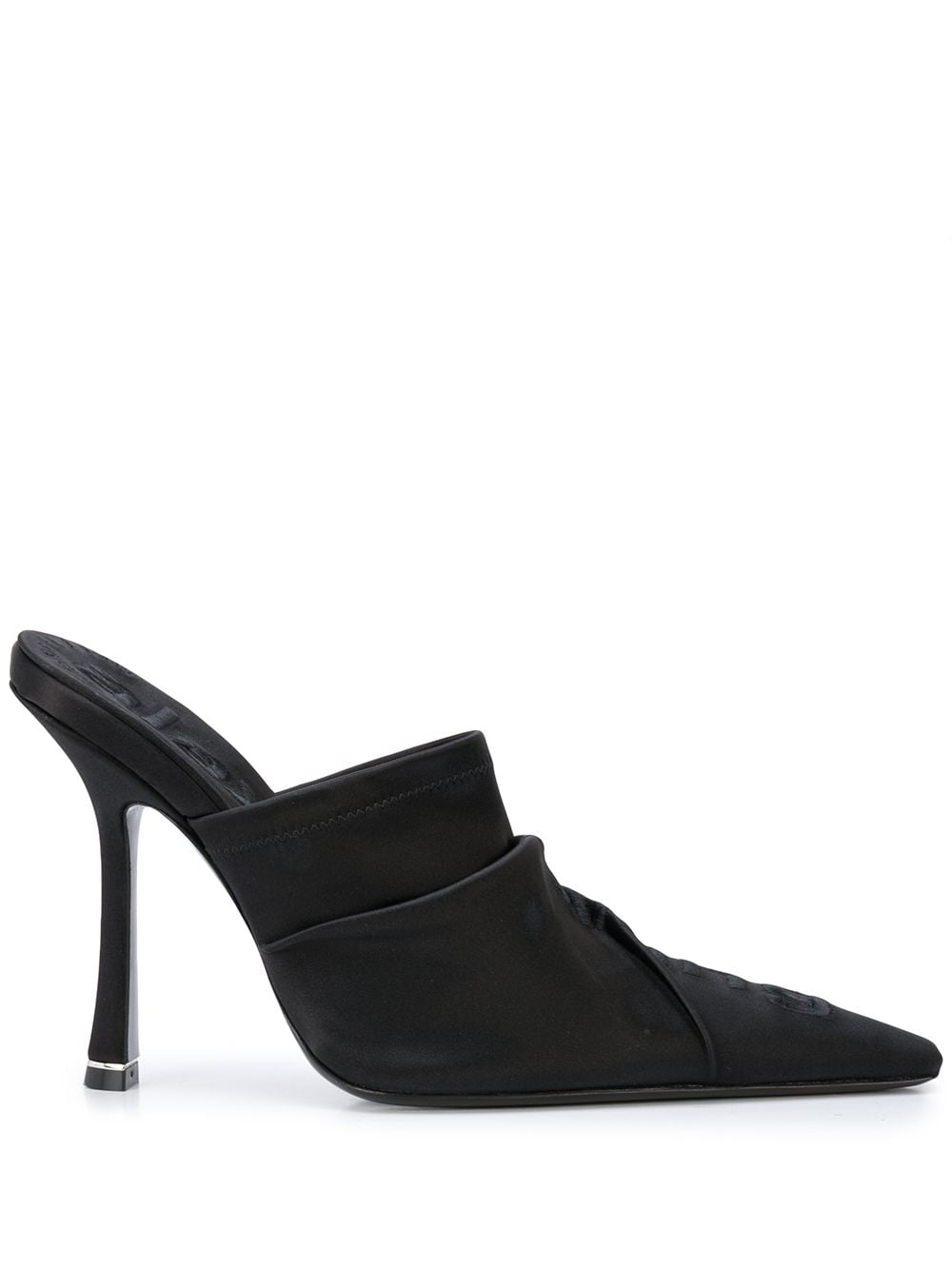 ALEXANDER WANG WOMEN VANNA MULE BLACK SATIN