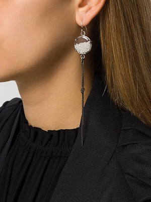 ANN DEMEULEMEESTER SILVER BEADS CHAIN EARRING EXCLUSIVE