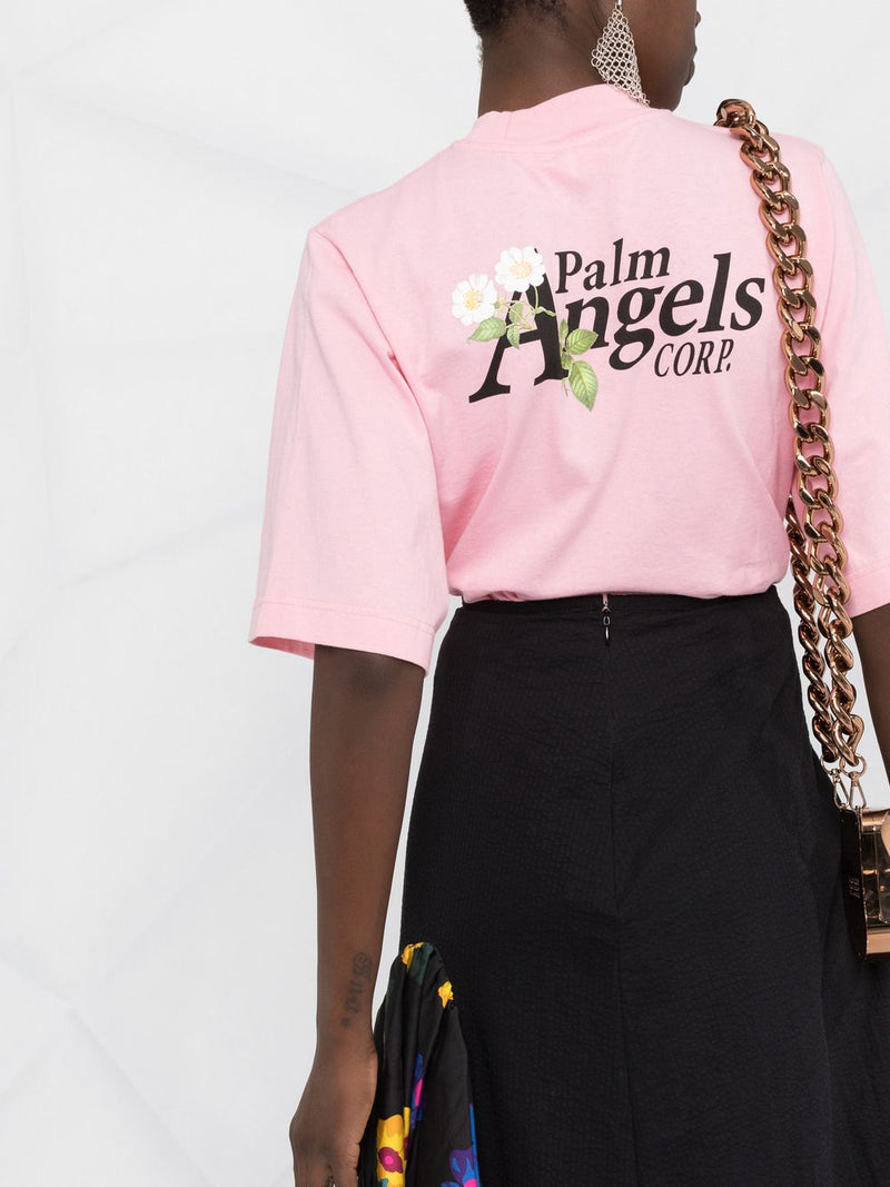 PALM ANGELS WOMEN DAISY LOGO CROPPED TEE