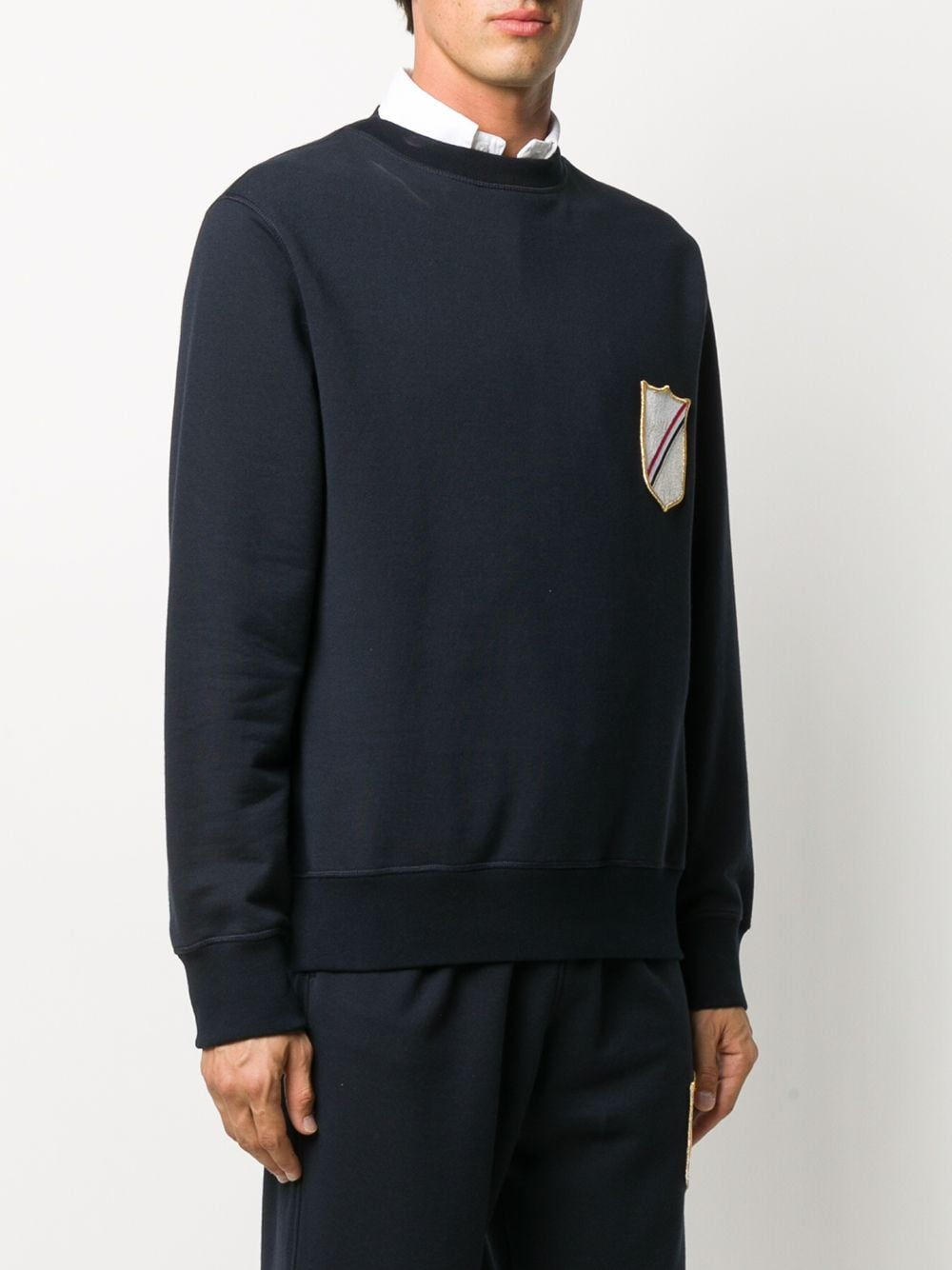 THOM BROWNE MEN BOAT NECK SWEATSHIRT W/EMBROIDERED CREST PATCH IN COTTON LOOPBACK